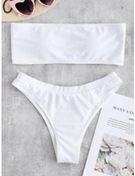 Textured Bandeau Bikini Swimwear   White L by Zaful