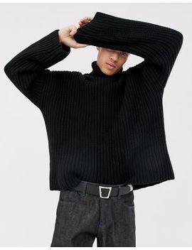 Asos White – Schwarzer Oversize Pullover Aus Grobstrick by Asos White