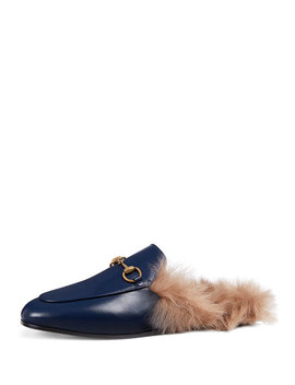 Fur Lined Leather Mule Slippers by Gucci