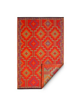 Fab Habitat Lhasa Indoor/Outdoor Rug, Orange & Violet, (5' X 8') (India) by Generic