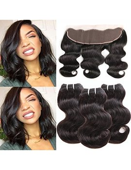 Morichy Hair Brazilian Virgin Hair Body Wave With Lace Frontal Human Hair 3 Bundles With Lace Frontal Closure Ear To Ear Unprocessed Short Human Hair Weaves 50g/Pc Natural Color Full Head 8 8 8+8 by Morichy