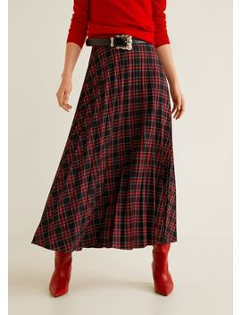 Checked Long Skirt by Mango