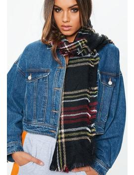 Navy Plaid Scarf by Missguided