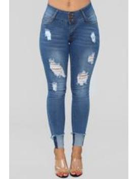 Don't Forget Me Distressed Skinny Jeans   Medium Blue Wash by Fashion Nova