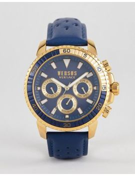 Versus Versace S3002 Aberdeen Leather Watch In Navy by Versus Versace