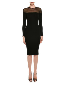 Round Neck Illusion Yoke Silk Knit Cocktail Dress by Tom Ford