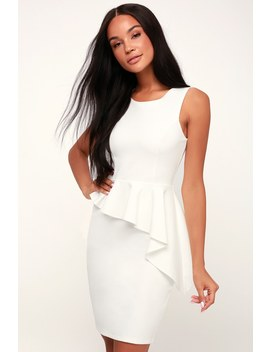 Here And Vow White Ruffled Bodycon Dress by Lulus