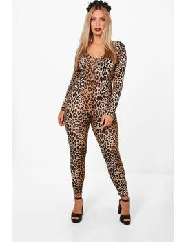 Plus Leah Halloween Leopard Print Catsuit by Boohoo
