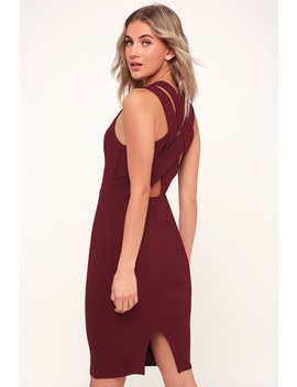 darren-burgundy-strappy-bodycon-midi-dress by lulus