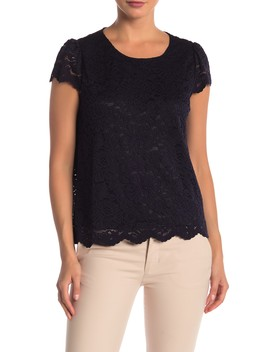 Cap Sleeve Lined Lace Top by Philosophy Apparel