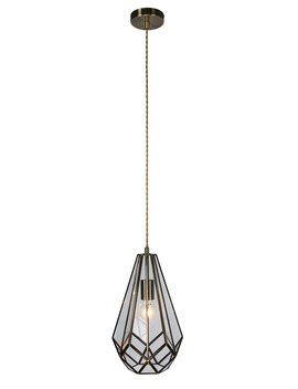 Ava Glass & Brass Pendant Light (H100cm 40cm X W21cm) by Matalan