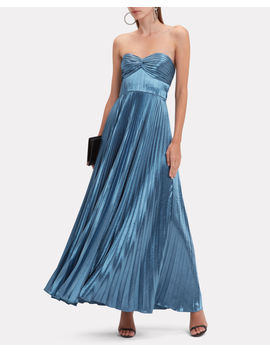 Sapphire Blue Pleated Strapless Gown by Amur