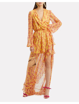 Marigold Abstract Printed High Low Gown by Caroline Constas