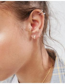 Asos Pack Of 3 Minimal Ear Piercings With Crystal Bar by Asos Design