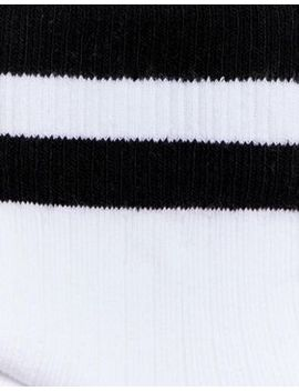 Monki Ankle Sports Socks With Black Stripe In White by Monki