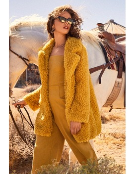 Briella Mustard Yellow Faux Fur Coat by Lulus