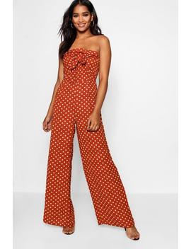 Polka Dot Bow Tie Wide Leg Jumpsuit by Boohoo