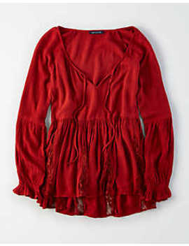 Ae Lace Inset Long Sleeve Top by American Eagle Outfitters