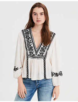 Ae Long Sleeve V Neck Top by American Eagle Outfitters