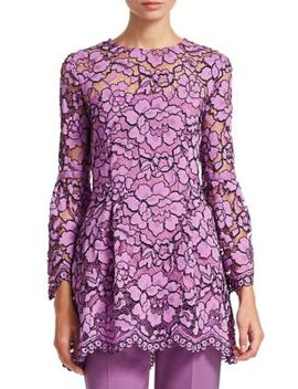Corded Lace Flounce Sleeve Top by Lela Rose