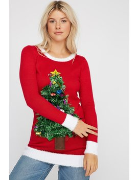 Tinsel Christmas Tree Ugly Christmas Sweater by Urban Planet