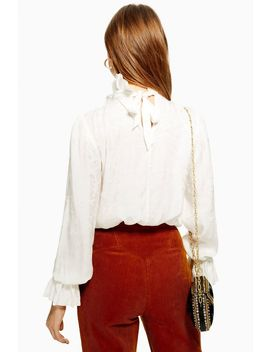 Jacquard Ruffle Neck Blouse by Topshop