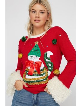 Faux Fur Cuffs Cat Ugly Christmas Sweater by Urban Planet