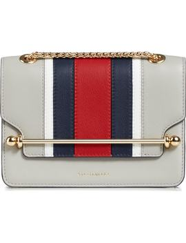 Mini East/West Stripe Leather Crossbody Bag by Strathberry