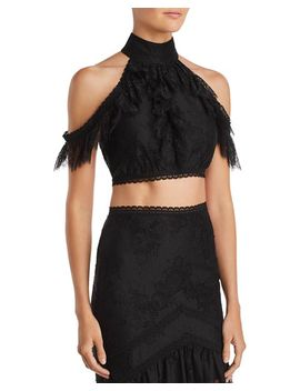 Regina Cold Shoulder Lace Cropped Top by Alice And Olivia
