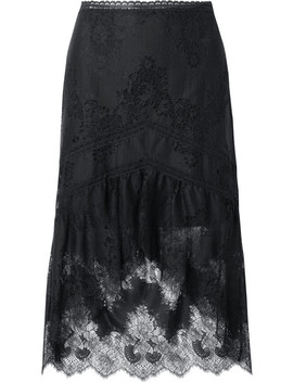 Triss Asymmetric Tulle And Lace Midi Skirt by Alice + Olivia