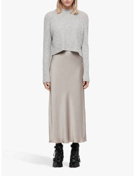 All Saints Tierny Layered Dress, Tin Grey Marl/Pearl by All Saints