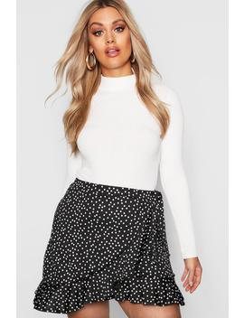 Plus Wrap Spot Ruffle Mini Skirt by Boohoo