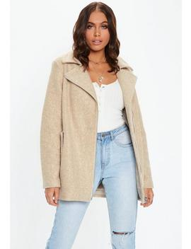 Tan Boucle Biker Coat by Missguided