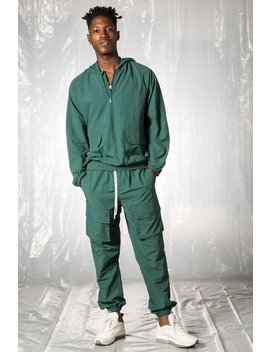 Hunter Green Matte Nylon Cargo Set by Elwood Clothing