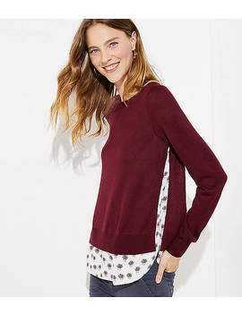 Dahlia Mixed Media Shirttail Sweater by Loft
