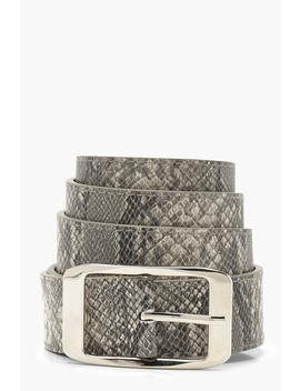 Plus Snake Print Boyfriend Belt by Boohoo