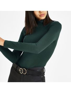 Khaki Green High Neck Long Sleeve Top by River Island
