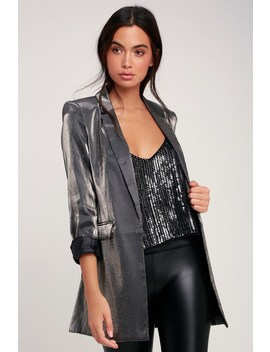 Kourtney Gunmetal Satin Blazer by Lulus