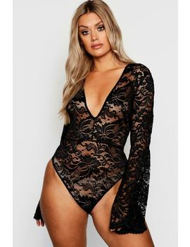 Plus Lace Flared Sleeve Bodysuit by Boohoo