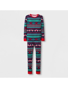 Boys' 2pc Tight Fit Long Sleeve Fair Isle Pajama Set   Cat & Jack™ Navy by Cat & Jack™