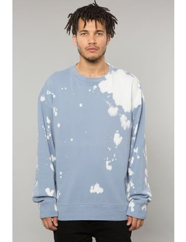Powder Blue Bleach Dye Crewneck Sweatshirt by Elwood Clothing