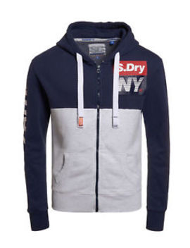 New Mens Superdry Posh Sport Panel Zip Hoodie Rinse Navy by Ebay Seller