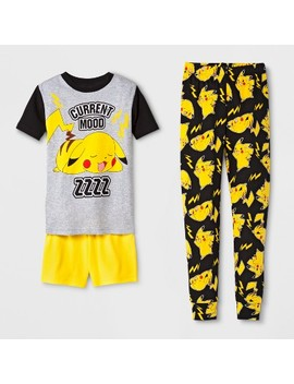Boys' Pokemon 3pc Pajama Set   Gray by Pokemon