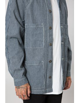 Indigo Pinstripe Denim Chore Jacket by Elwood Clothing