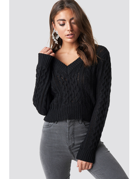 Cropped Cable Knit Sweater by Luisa Lion X Na Kd