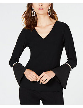 I.N.C. V Neck Pearl Sleeve Top, Created For Macy's by Inc International Concepts