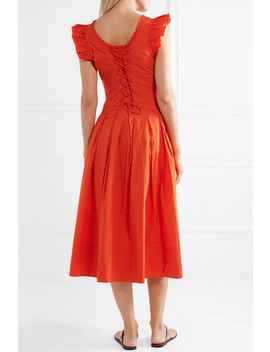 Camille Ruffled Lace Up Cotton Poplin Midi Dress by Ulla Johnson