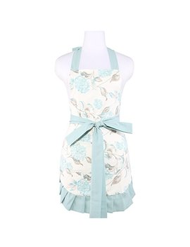 Neoviva Cotton Twill Kitchen Apron With Big Pocket For Women, Lining Applied, Style Kathy, Floral Hydrangea Clear Aqua by Neoviva