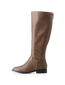 Studded Knee Length Boots by Charlotte Russe
