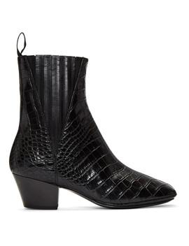 Black Croc Soft Chelsea Boots by Lemaire